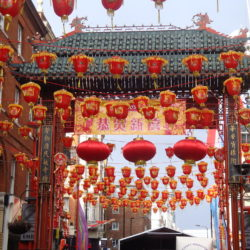 London's Chinatown decorated with red lanterns