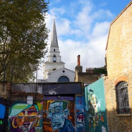 Street art & views of Christ Church, East London